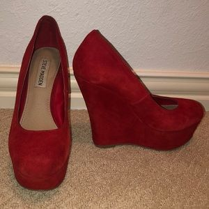 Red Steve Madden platform wedged heels